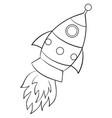 a children coloring bookpage a cartoon rocket vector image vector image