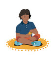 afro american girl sits on floor with smartphone vector image vector image