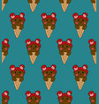 bear chocolate on ice cream blue teal background vector image vector image