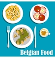 Belgian cuisine with eel fish and hot salad vector image vector image
