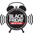 Black friday save up to 80 alarm clock black icon vector image vector image