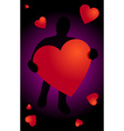 Black silhouette with heart in hand vector image