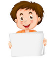 blank sign template with cute boy on white vector image