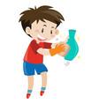 boy rubbing flower vase vector image