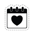 calendar love heart date cut line vector image