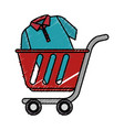 cart shopping with shirt isolated icon vector image