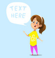 cartoon girl with speech bubble vector image vector image