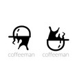 coffee cup and cap man logo vector image