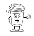 coffee cup and thumb up coloring book vector image vector image