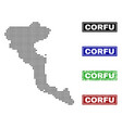corfu island map in dot style with grunge title vector image