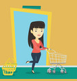 customer running into the shop with trolley vector image vector image