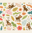 cute and funny monkeys seamless pattern vector image vector image