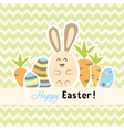 Easter green card with carrots and rabbit vector image vector image