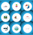 flat icon beach set of scuba diving recliner vector image vector image