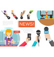 flat news colorful composition vector image vector image