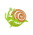 funny snail character raising hand cute green vector image