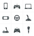 Game icons set of gadget signs vector image vector image