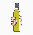 hand hold olive oil male holding olive oil bottle vector image vector image