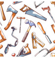 Hand tools repairman seamless pattern on white