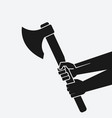hands holding axe black silhouette on white vector image vector image