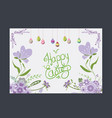 happy easter eggs greeting card flower purple vector image vector image