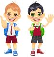 happy smiling schoolchildren boys vector image