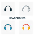 headphones icon set four elements in diferent vector image