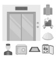 hotel and equipment monochrome icons in set vector image