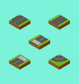 isometric road set of footpassenger road footer