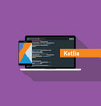 kotlin mobile application programming language vector image