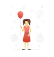 little girl with balloon flat character design vector image