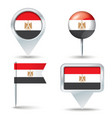 Map pins with flag of Egypt vector image vector image