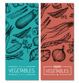 natural vegetables hand drawn flyer set vector image