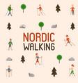 nordic walking sport people leisure sport time vector image vector image