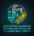 plumbing service neon light concept icon home vector image