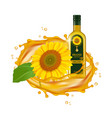 realistic sunflower oil oil drops and vector image vector image