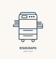 risograph printer with paper flat line icon vector image