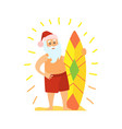 santa claus and surfing board christmas character vector image