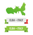 set of ribbons with elba italy caption and map of vector image