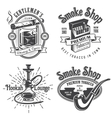 Set of vintage tobacco smoking emblems vector image vector image
