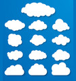 set of white clouds on a blue background vector image
