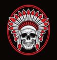 skull indian native american warrior red vector image