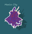 sticker color map of mexico city mexico city plan vector image