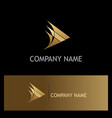 triangle arrow curve gold company logo vector image vector image