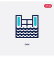 two color dam icon from ecology concept isolated vector image vector image
