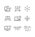 Webinar and communication linear icons vector image