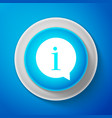 white information icon isolated on blue background vector image