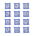 Zodiac Signs on gray squares vector image vector image