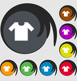 T-shirt icon sign Symbols on eight colored buttons vector image