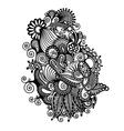 black line art ornate flower design vector image